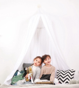 HAN-MM Hanging Bed Canopy Princess Play Tent and Bed Canopy Round Hoop Netting Mosquito Net Bedroom Decor White