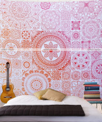 Queen Size Orange Pink Floral Mandala Bohemian Wall Hanging Wall Decor Abstract Tapestry