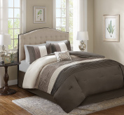 Comfort Spaces – Windsor Comforter Set- 5 Piece – Khaki, Brown, Ivory – Pintuck pattern – King size, includes 1 Comforter, 2 Shams, 1 Decorative Pillow, 1 Bed Skirt