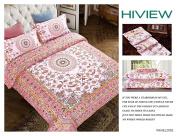 LA MEJOR Queen Size Microfiber Retro Bohemia Exotic Patterns Duvet Cover Sets Pale Pink