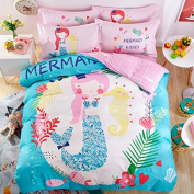 Svetanya Cartoon Mermaid Duvet Cover Set Flat Sheet Pillow Cases 400TC 100% Soft Cotton Fabric Queen Size 200x230cm Bedding Sets