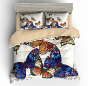 BOMCOM 3D Duvet Cover Sets Digital Printing a Group of Graceful Butterflies and Moth Orchid 100% Microfiber Ivory