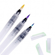 Ohuhu Water Colouring Brush Pens, Set of 3 Brush Tips for Watercolour Painting, Water Soluble Pencils, Brush Pens, Markers, Solid Colours or Powdered Pigment