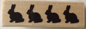 Bunny Sillouettes wood mounted rubber stamp