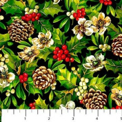 Full Bolt 15 Yards Home For The Holidays Black With Holly and Pine Cones Northcott Cotton Fabric 21082-99