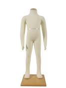Wowell New Child Dress Form 3-4 Years White Jersey Form Cover with Head Flexible Arms Fingers and Legs Wood Base Fabric