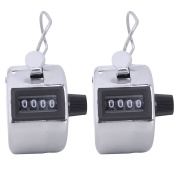 HDE Handheld 4 Digit Number Counter Mechanical Tally Lap Tracker Manual Clicker - 2 Pack