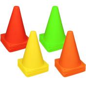 Reehut 19cm Plastic Sport Training Traffic Cone (Set of 12 or 24)- 4 Colours