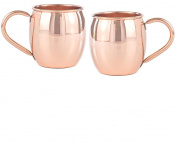 Copper Mug Co. The Barrel Smooth Solid Copper, 470ml Mug, Set of 2