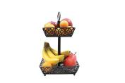 Tablecraft Farmhouse Collection Two-Tiered Fruit Basket, Metallic