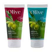 Hand and foot cream set enriched with organic olive oil by Frulatte. Each tube 150ml