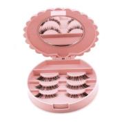 OVERMAL Acrylic Cute Bow False Eyelash Storage Box Makeup Cosmetic Mirror Case Organiser