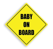 BABY ON BOARD YELLOW CHILD SAFETY VINYL CAR SIGN