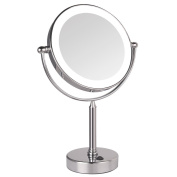 GURUN Tabletop Swivel LED Lighted Makeup Mirror,7x magnification,Chrome Finish M2011D