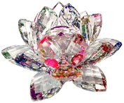 Amlong Crystal Sparkle Crystal Lotus Flower Feng Shui Home Decor with Gift Box, 7.6cm