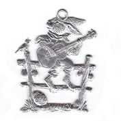 Easter decoration Pendant of pewter, Hare is playing the guitar, bright tin