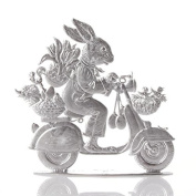 Easter decoration of pewter, Hare on scooter, bright tin