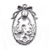Easter decoration Pendant of pewter, Egg with ducks, bright tin