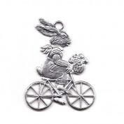 Easter decoration Pendant of pewter, Hare on bike, bright tin