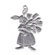 Easter decoration Pendant of pewter, Bunny girl with tulip bouquet, bright tin
