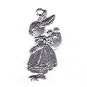 Easter decoration Pendant of pewter, Hare girl with chicks, bright tin