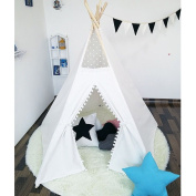 Play Teepee 100% Cotton Canvas Portable Indoor Tent for Boy and Girls children playhouse with lace