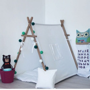 Sunny@pure white square design 100% Cotton Canvas Indian Teepee Kids Play Tent for Children Playhouse