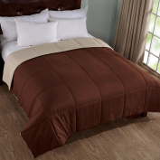 Home Elements Lightweight Reversible Down Alternative Comforter, Peach Skin Fabric,Twin Size