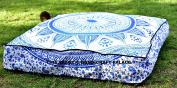 INDIAN OMBRE MANDALA SQUARE pouffe OTTOMAN COVER Floor Seating Bohemian Decor Cotton Floor Pillow Cover Square Shape Ottoman Cover Ethnic By Handicraftspalace