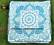 """""""Handicraftspalace"""" Ombre Mandala Floor Pillow Indian Ottoman Pouffe Cover Outside Seating Bed Pets Bed Daybed Big Seating Floor Pillow Cover Pouffe Square Cushion Case"""