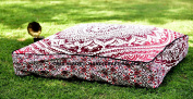 """Ombre Mandala Indian Floor Pillow Cover Ottoman Pouffe Outdoor Dog / Pets Bed 90cm , Bohemian Style Traditional Cotton Handmade By """"Handicraftspalace"""""""