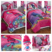 Trolls Girls Complete Bedding Comforter Set with Poppy Plush Pillow Buddy - Twin