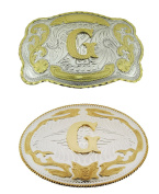 Big Initial Letter G Belt Buckles Two Styles Western Monogram Cowboy Gold Silver