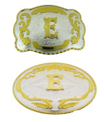 Big Initial Letter E Belt Buckles Two Styles Western Monogram Cowboy Gold Silver