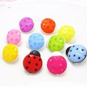 100 Pcs DIY Ladybug Cartoon Buttons, Children's Clothing Buttons Colour Mixing