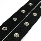 Anrox Supply Co 1.9cm Black Cotton Silver Snap Button Eyelet Tape Band 3 YDS USA
