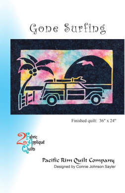 Gone Surfing Tropical Palm Tree 2 Fabric Applique Pacific Rim Quilt Pattern