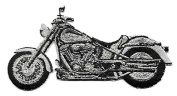 DKAORU Motorcycle - Black & Silver - Embroidered Iron On Patch - Left Happy crafting