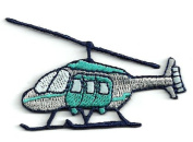 DKAORU HELICOPTER grey/TURQUIOSE/NAVY BLUE EMBROIDERED IRON ON APPLIQUE PATCH Happy crafting
