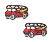 DKAORU Fire truck- Emergency - Fire Engine - Iron On Patch - Set Of 2 SMALL Happy crafting