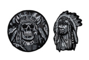 Death Skull Indian Chief Skull Bundle 2pcs Patch by Miltacusa