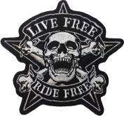 Skull LIVE FREE RIDE FREE PATCH 10 x 10.5cm biker heavy metal Logo Jacket Vest shirt hat blanket backpack T shirt Patches Embroidered Appliques Symbol Badge Cloth Sign Costume Gift