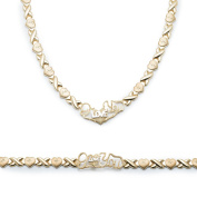 """Sterling Silver Stampato X and Heart Hugs and Kisses with Heart """"I Love You"""" Bracelet and Necklace Set"""