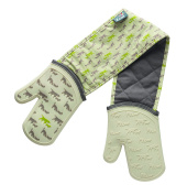 Zeal Silicone Heavy Duty Double Oven Gloves Mitts, Cream/Dog