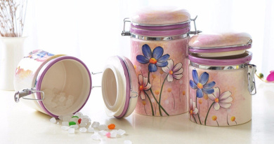 Ceramic pot tea cans of food grains in hand-painted milk cans cookie candy jar canister, 750ml