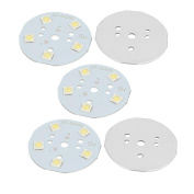 sourcingmap® 5Pcs 49x49mm 5W 5 LEDs 6868 High Power SMD Pure White LED Ceiling Light Board