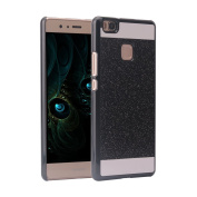 Huawei P9 Lite Case,Huawei P9 Lite Cover,Rosa Schleife Bling Glitter Hard PC Bumper Back Case Durable Skin Shell Protective Cover for Huawei P9 Lite (13cm )-Black