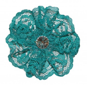 6.4cm Rhinestone Scalloped Lace Flower Embellishment DIY Crafts Hair Bows Teal L103