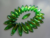 100pcs Navette Shape Flatback Light Green Loose Gem Stone Sew on Rhinestones 8x26mm Crystal Accessories for Hand Sewing