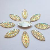 11x23mm Crystal Clear AB All Star Rhinestones Flat Back Sew On Resin Horse Eye Gems Fancy Strass Stones For Clothing Dress Craft 60PCS 2 Holes